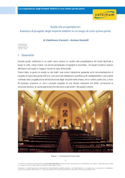 Schemi Elettrici Unifilari Esempi : La progettazione degli impianti elettrici in una chiesa